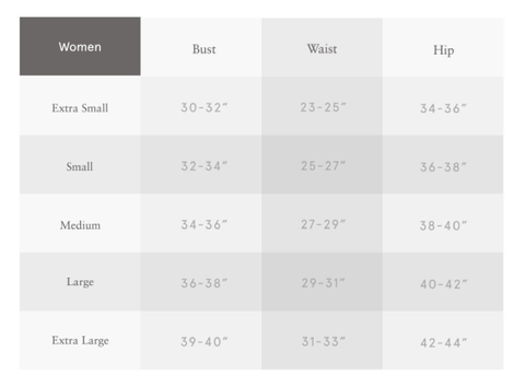5 By Design - Women's Sizing Chart