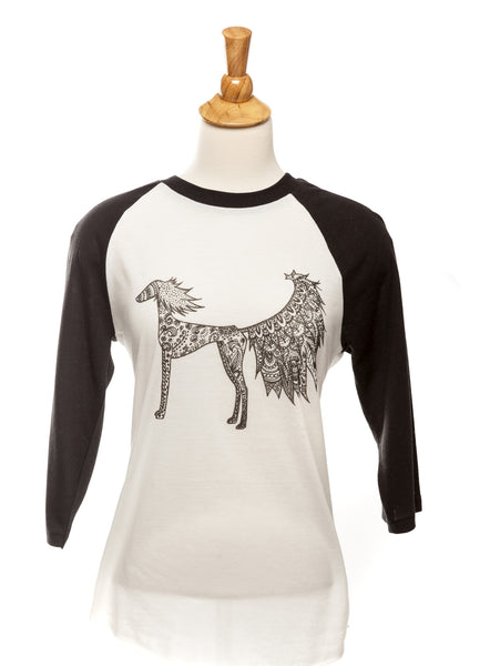 Harlow our Saluki - Baseball Tee - Black and White - Unisex