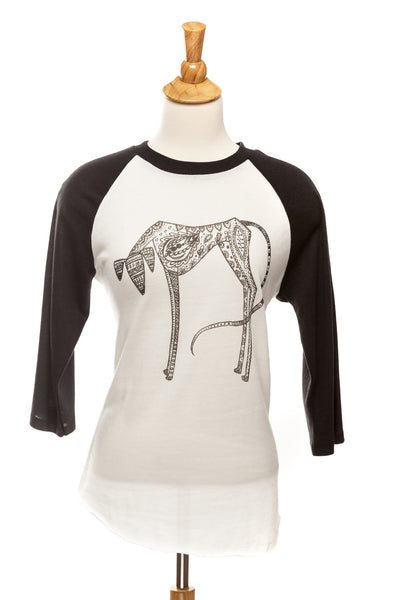 Brodie our Saluki - Baseball Tee - Black and White - Unisex