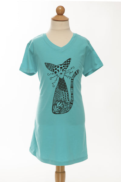 Habibi the Cat - Childrens Tee - V Neck - Turquoise