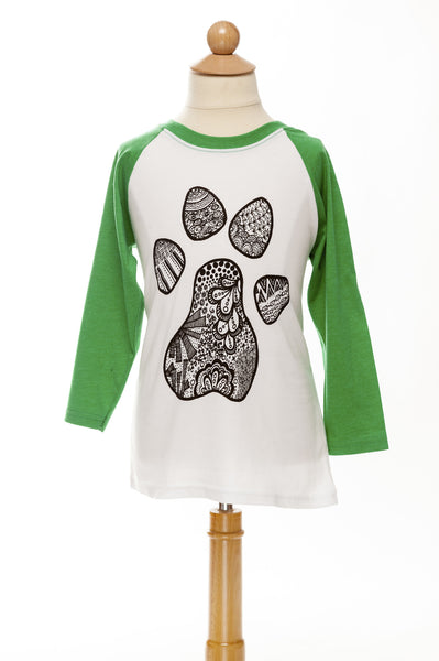 Paw Print Doodle - Children's Baseball Tee - Green/White