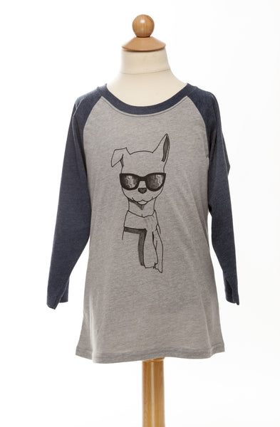 Sunny our Winter Pup - Children's Baseball Tee - Grey & Blue