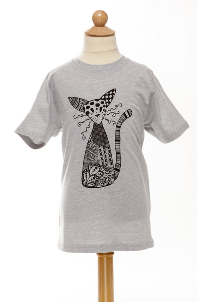 Habibi the Cat - Children's Tee - Round Neck - Grey