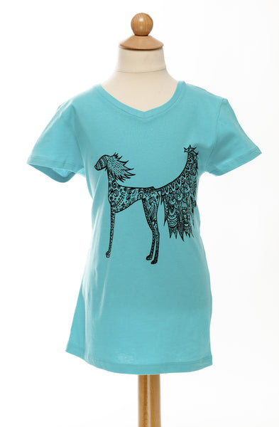 Harlow - Our Feathered Saluki - Childrens V Neck Tee - Turquoise