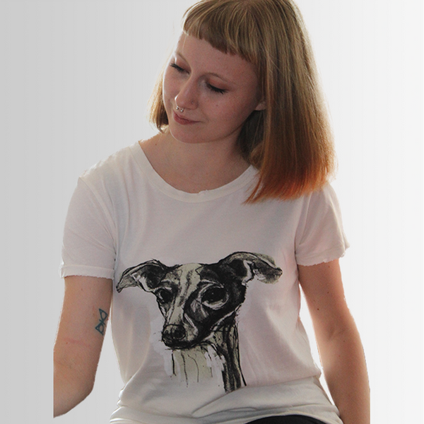 Mia our Greyhound - Tee Shirt - Distressed - more colours