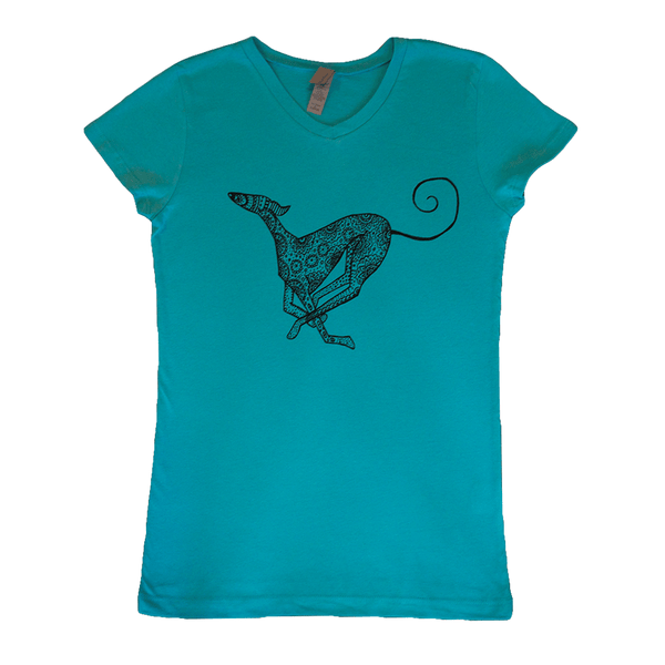 Smiley - Our Running Saluki - Children's Tee - Turquoise Princess Tee