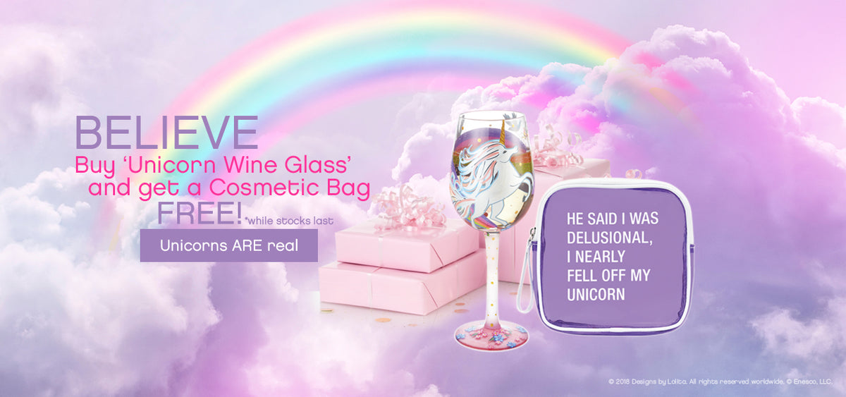FREE Cosmetic Bag when you buy Unicorn Wine Glass