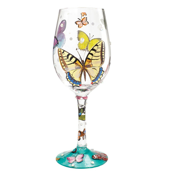 Butterfly Wishes Wine Glass by Lolita