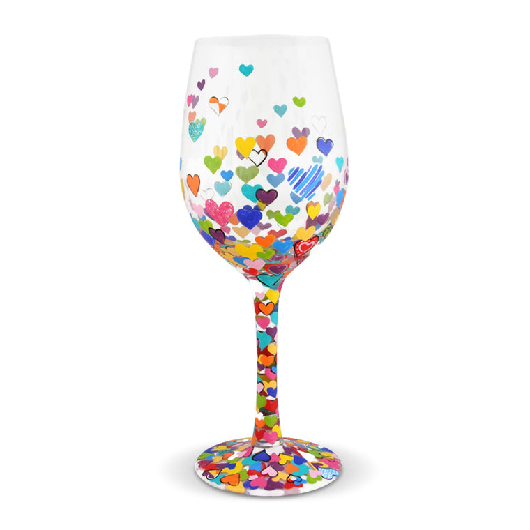 Hearts a Million wine glass