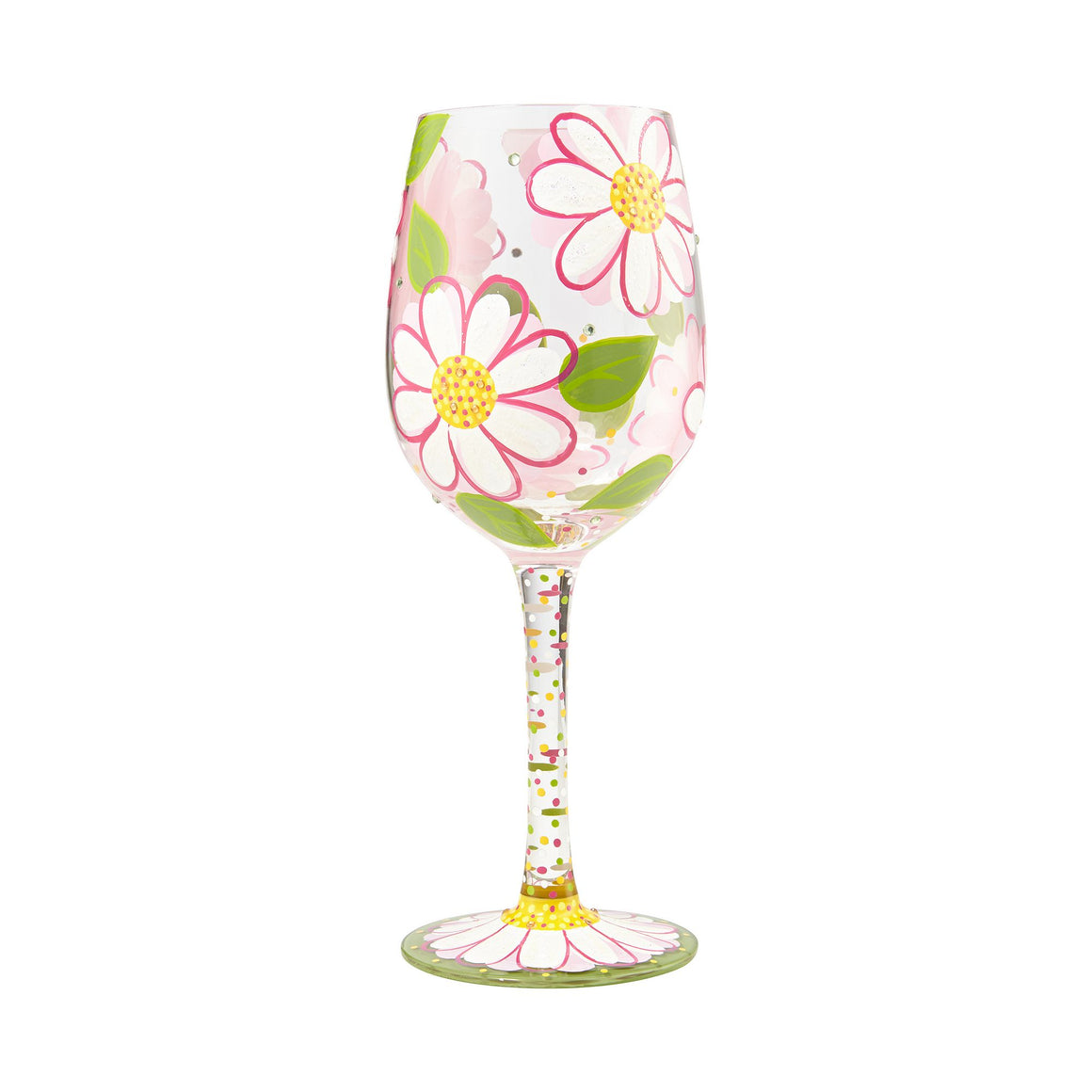 Oops I Dasied Again wine glass