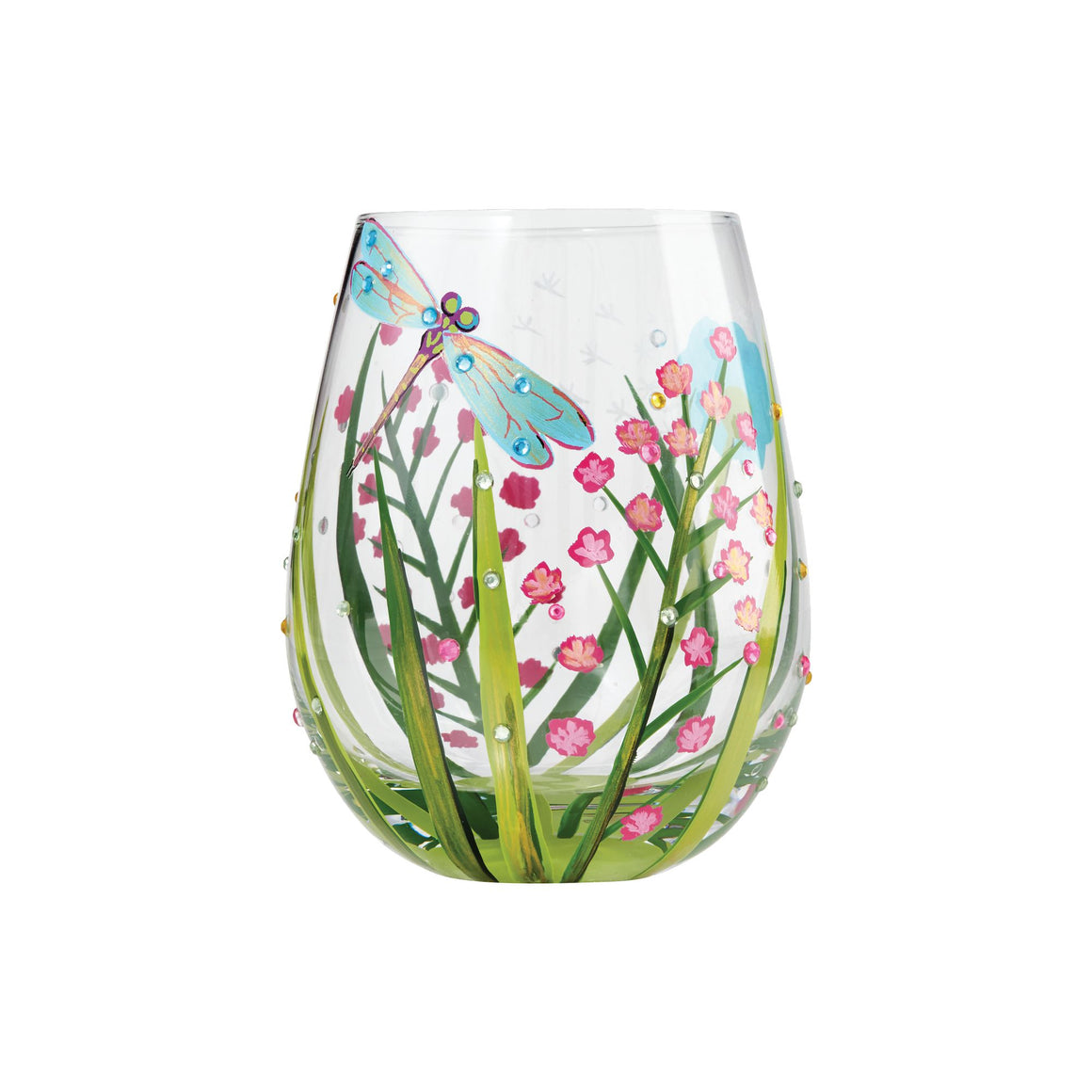 Dragonfly stemless glass