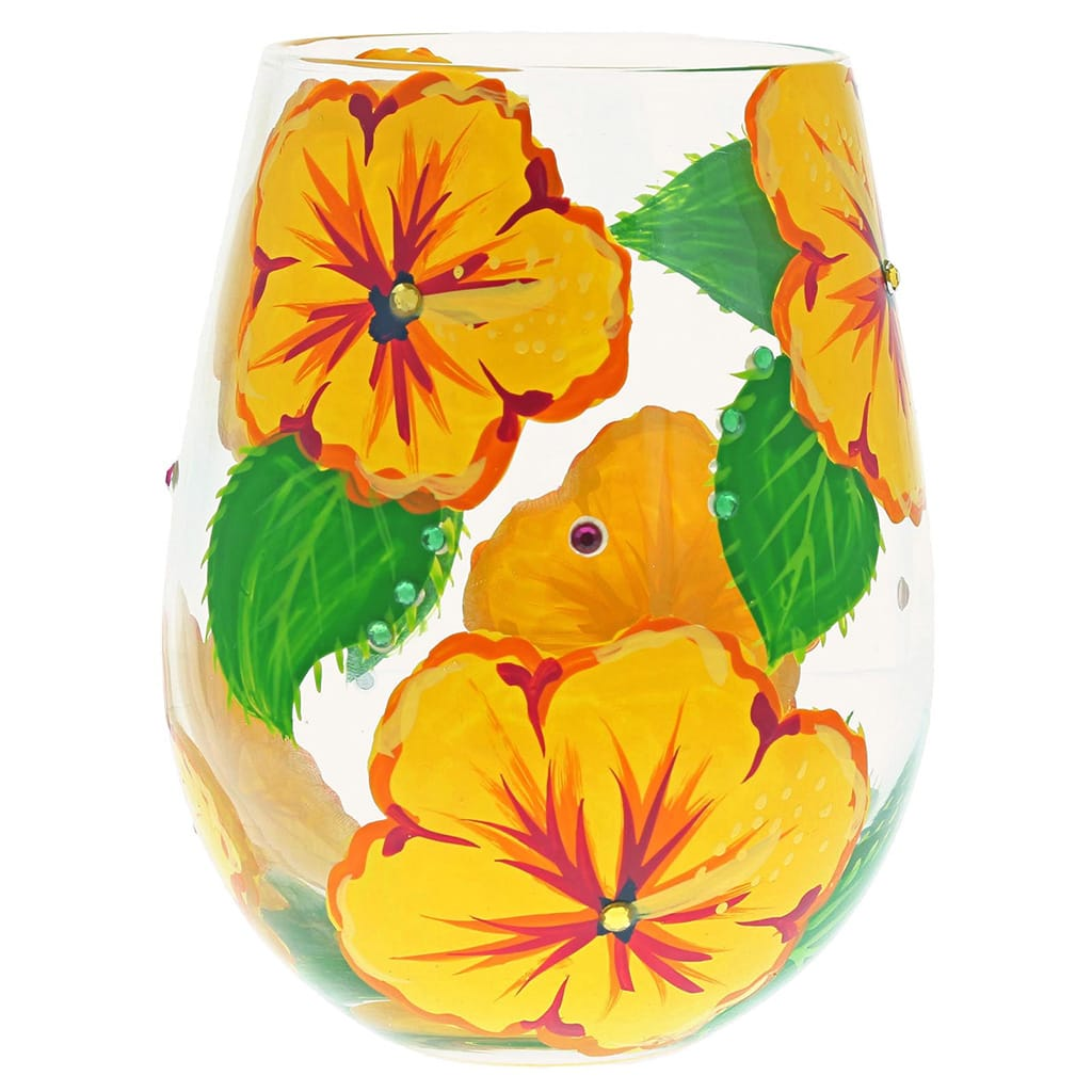 Lolita Hibiscus Handpainted Gift Boxed Glass