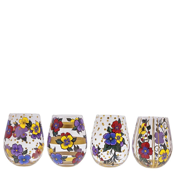Pansies Stemless Wine Glass Set of 4 - Website Exclusive