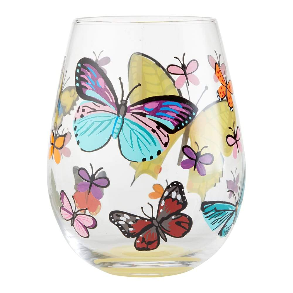 Butterflies Stemless Wine Glass by Lolita