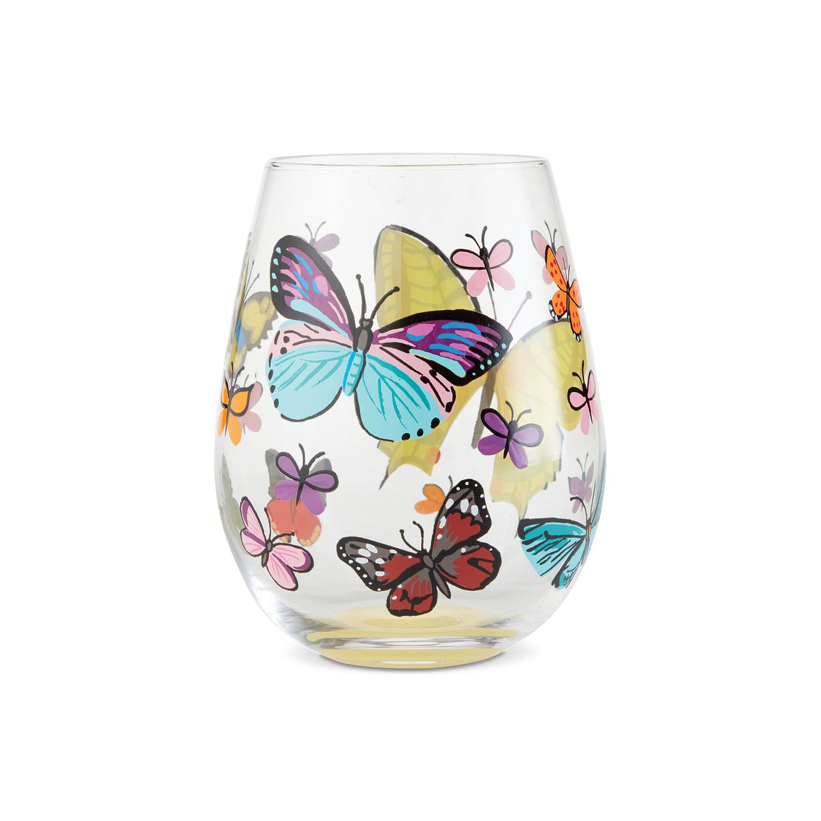 Butterflies Stemless Wine Glass