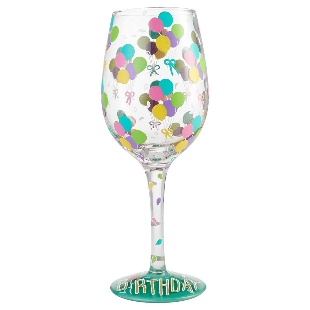 Birthday Balloons Wine Glass by Lolita