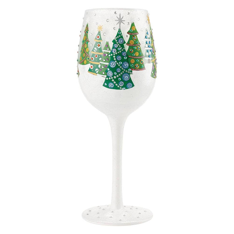 Christmas Trees in the Snow Wine Glass by Lolita