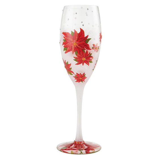 Poinsettias In the Snow Prosecco Glass by Lolita