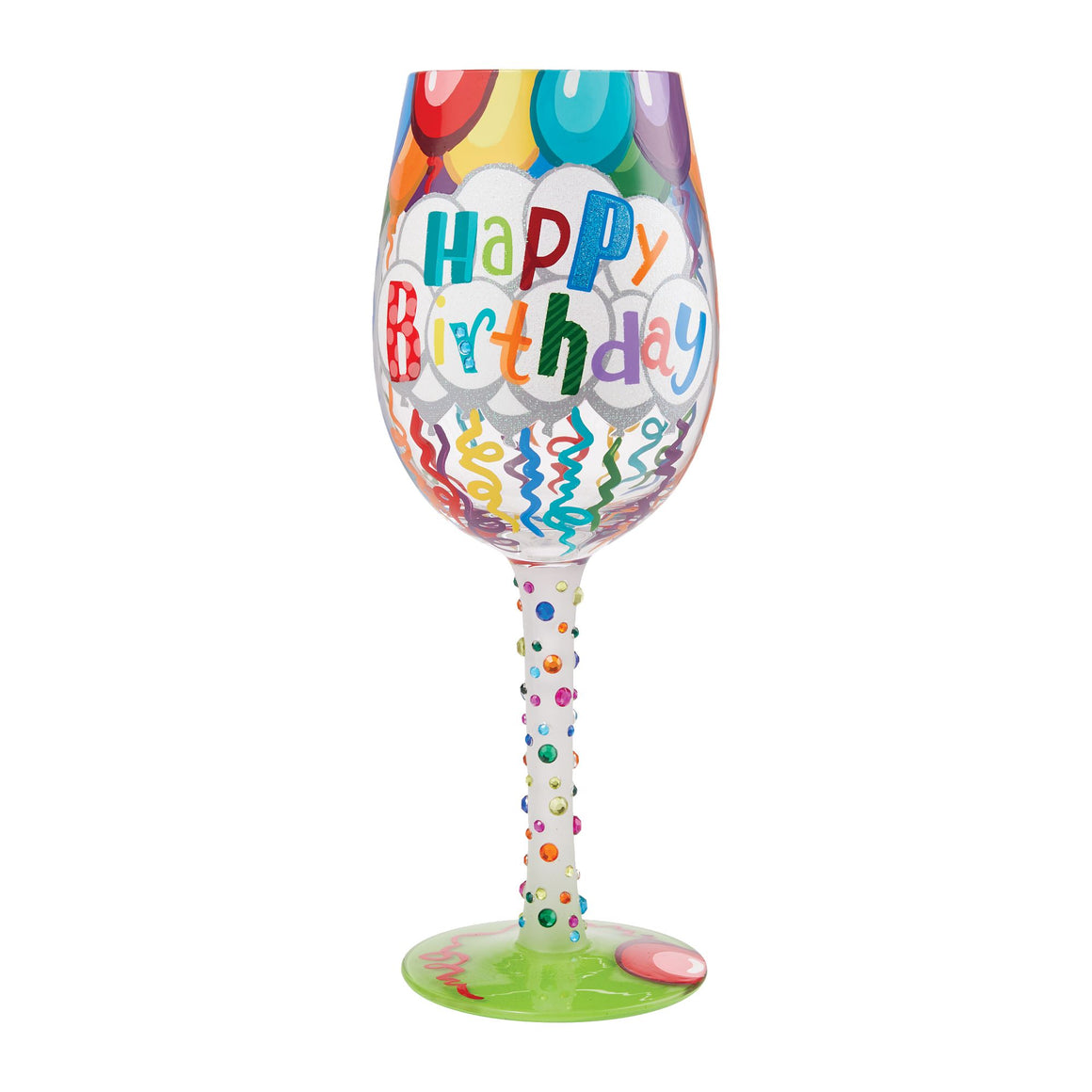 Birthday Streamers Wine Glass by Lolita