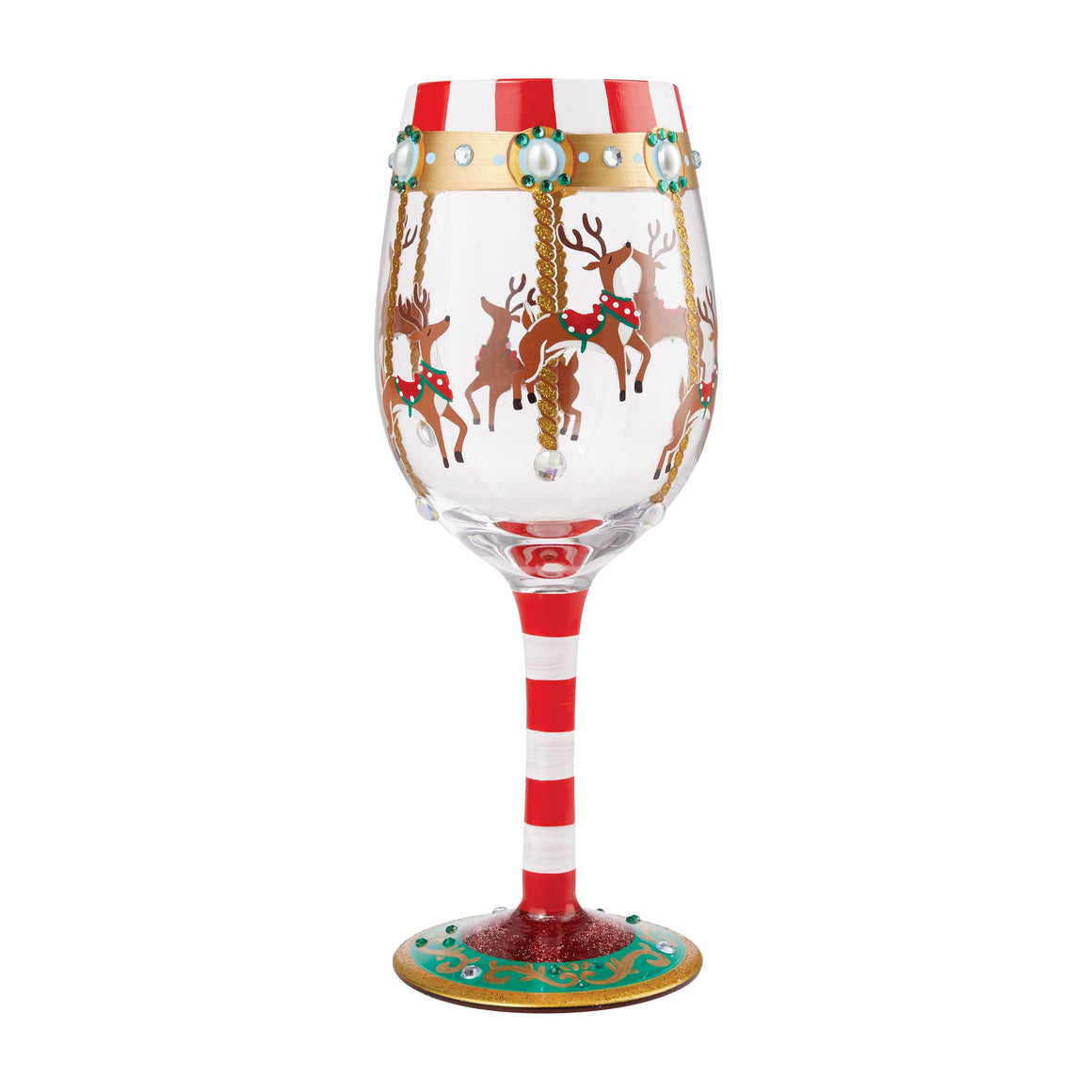 Reindeer Carousel Wine Glass