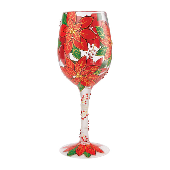 Pretty as a Poinsettia Wine Glass