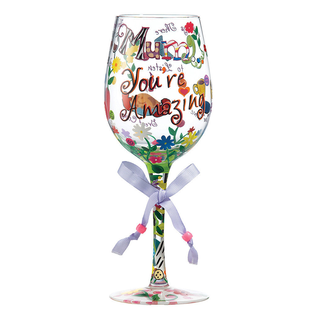 Lolita Mum You're Amazing Wine Glass