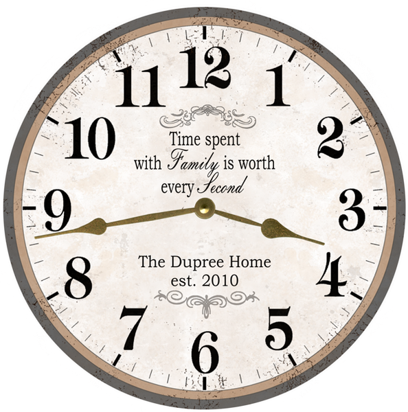Personalized Family Name Clock Time Spent With Family Is Worth Every Time Flies Clocks