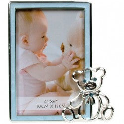 Baby Photo Frame With Bear Blue