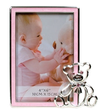 Baby Photo Frame With Bear Pink