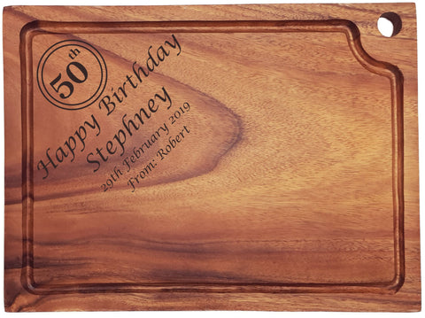 Personalised Engraved Acacia Wood Chopping Board Gift For Birthday