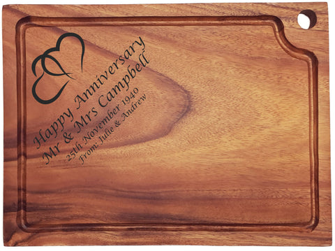 Personalised Engraved Acacia Wood Chopping Board Gift For Couple With Hearts