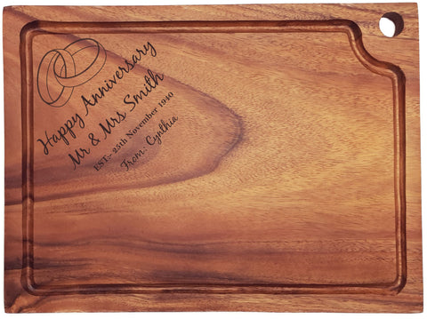 Personalised Engraved Acacia Wood Chopping Board Gift For Couple With Rings