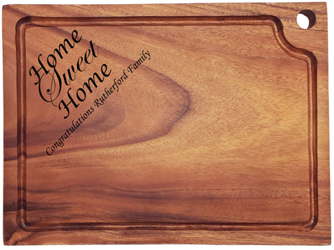 Personalised Engraved Acacia Wood Chopping Board Gift For House Warming/Family