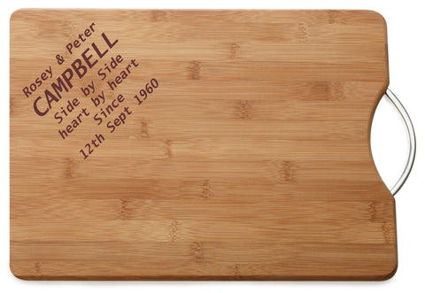 Personalised Engraved M & W Chopping Board Gift For Lovely Couple