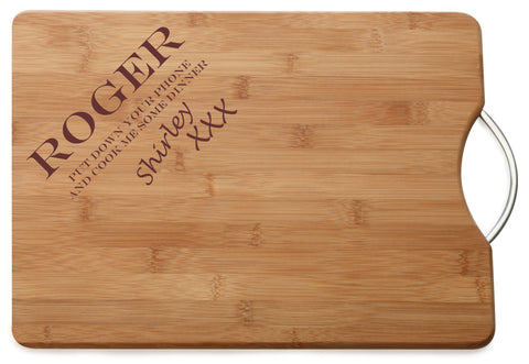 Personalised Engraved M & W Chopping Board Gift For Loved one or Friend with Humor
