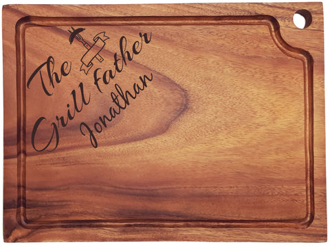 Personalised Engraved Acacia Wood Chopping Board Gift For Male With Grill Love