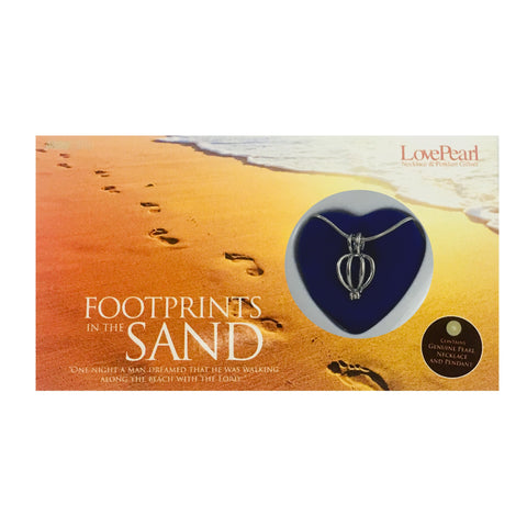 FOOTPRINTS IN THE SAND - LOVE PEARL NECKLACE & PENDANT GIFTSET