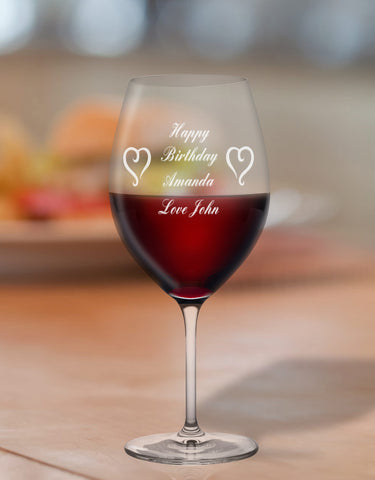 Personalised Birthday Glass With Message & Heart