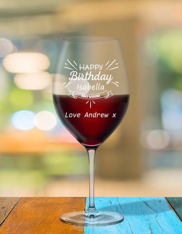 Personalised Birthday Glass With Sparkle