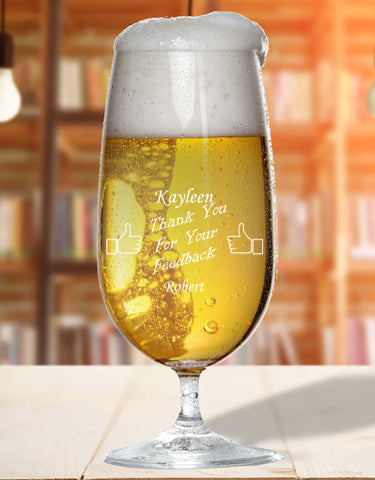 Personalised Glass For Good Feedbak