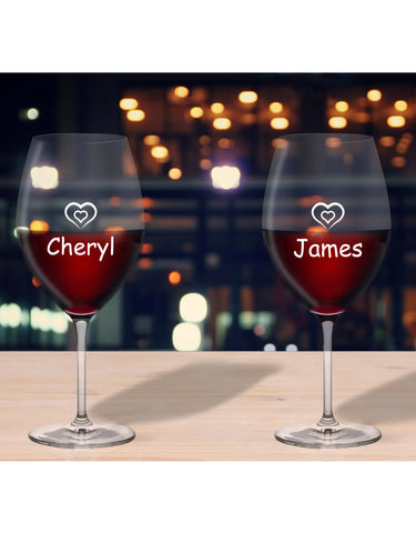 Personalised Glasses Heart & Name