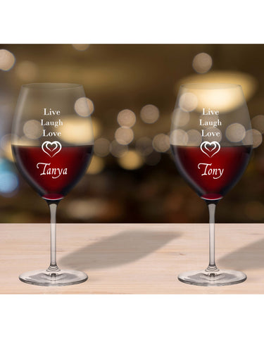 Personalised Glasses Live - Laugh - Love