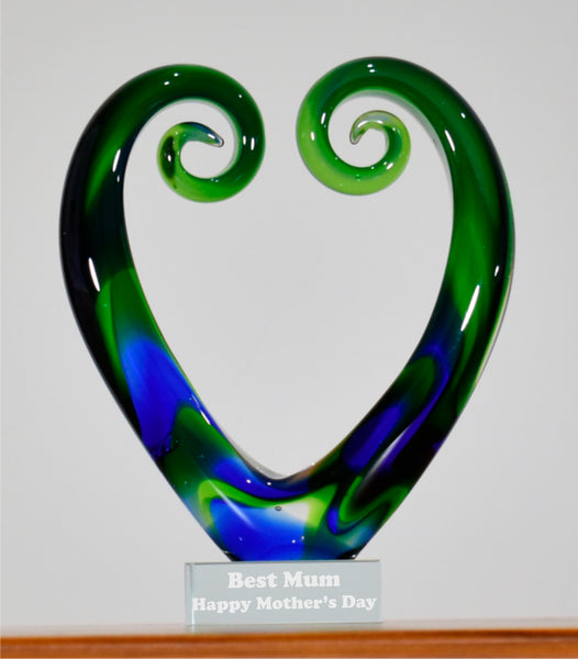 Personalised Koru Heart Green Blue 15 cm