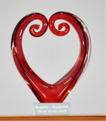 Personalised Koru Heart Red Black 15 cm