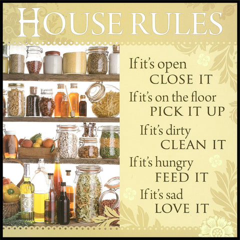 House Rules Sentiment Tea Towel