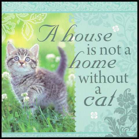 A House Is Not A Home/Cat Sentiment Tea Towel