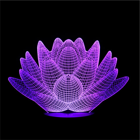3D Lotus Night Light