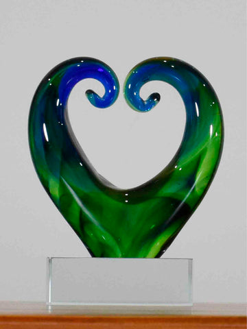 Koru Heart Green Blue 11 cm