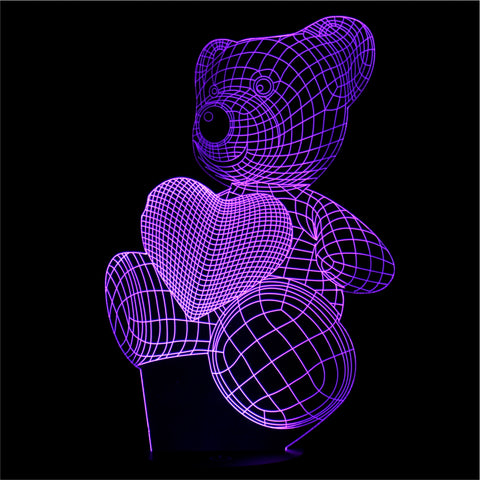 3D Teddy With Heart Night Light