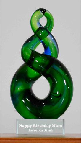 Personalised Koru Twist Green Blue 15 cm